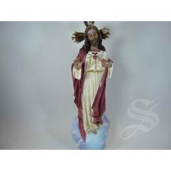 CORAZON DE JESUS 30 CM. PASTA DE MADERA