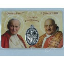ESTAMPA PAPAS JUAN PABLO II Y JUAN XXIII CON MEDALLA