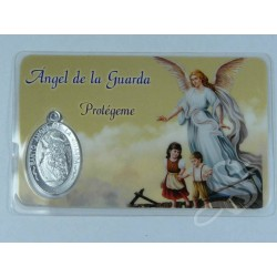 ESTAMPA ANGEL DE LA GUARDA CON MEDALLA