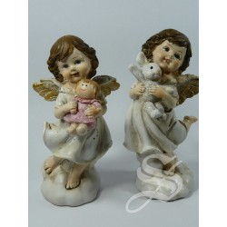 ANGELES DE RESINA 14 CM. CON PELUCHES