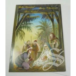 CRISMA NAVIDAD RELIGIOSO 12 X 16,5 DOBLE CON SOBRE DETALLES DORADOS
