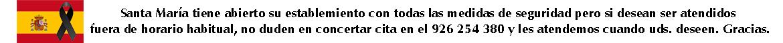 EN SANTA MARIA ATENDEMOS AL PUBLICO DIRECTAMENTE O CONCERTANDO CITA FUERA DE HORARIO HABITUAL. TAMBIEN LLEVAMOS PEDIDOS A DOMICILIO EN CIUDAD REAL CAPITAL O ENVIAMOS POR MENSAJERIA A CUALQUIER PUNTO DE ESPAÑA.ICILIO EN CIUDAD REAL CAPITAL